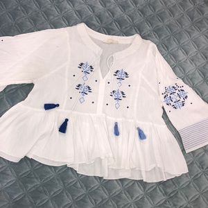 Flowy, Embroidered Boho Shirt